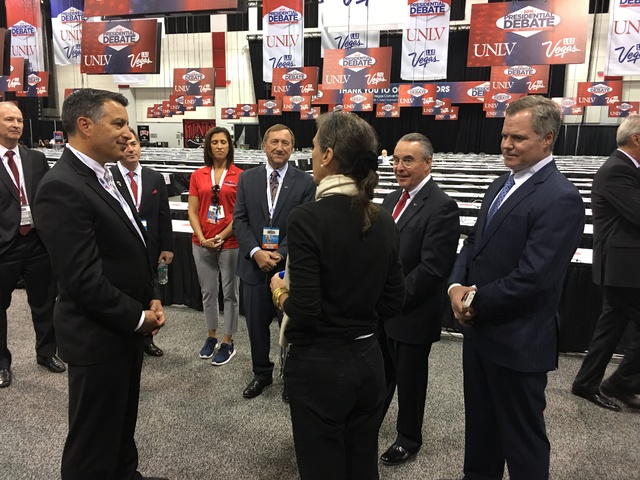 Commission for Presidential Debates Executive Director Janet Brown meets with Gov. Brian Sandoval, LVCVA President and CEO Rossi Ralenkotter, UNLV Board of Trustees member and former university pr ...