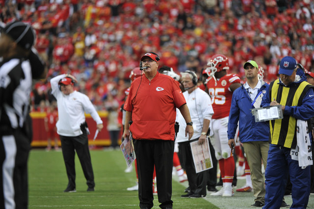 Kansas City Chiefs head coach Andy Reid looks at the score board during the second half of an NFL football game against the New York Jets in Kansas City, Mo., Sunday, Sept. 25, 2016. (AP Photo/Ed  ...