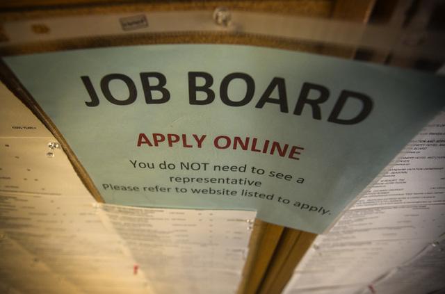 The job board is seen Wednesday, April 15, 2015, at Nevada JobConnect, 119 S. Water Street in Henderson. (Jeff Scheid/Las Vegas Review-Journal) Follow Jeff Scheid on Twitter @jlscheid