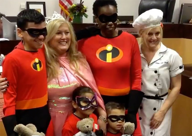 Family Court Judge Cynthia Giuliani poses with the Jones family on Monday (Las Vegas Review-Journal)
