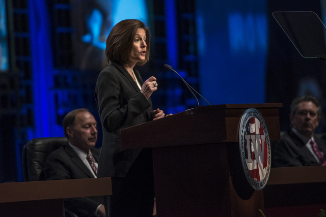 Democratic U.S. Senate candidate Catherine Cortez Masto speaks during the Iron Workers International 43rd Convention at The Mirage hotel-casino in Las Vegas on Monday, Aug. 22, 2016. (Joshua Dahl/ ...