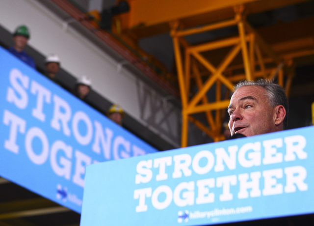 Democratic vice presidential candidate Sen. Tim Kaine, D-Va., speaks during a campaign event at the United Brotherhood of Carpenters Training Center in Las Vegas on Thursday, Oct. 6, 2016. Chase S ...