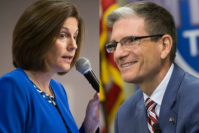 Catherine Cortez-Masto and Joe Heck are pictured in this composite image.