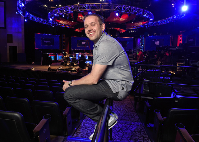 Kenny Hallaert of Belgium looks forward to the start of the final table of the World Series of Poker at the Rio hotel-casino Friday, Oct. 28, 2016, in Las Vegas. Halbert is one of the final nine t ...