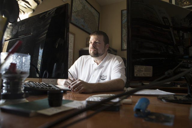 Maxwell Alexander Drake works on his computer at his home in North Las Vegas on Thursday, Oct. 6, 2016. Drake successfully crowdfunded a project to restore the classic fantasy genre comic strip Sn ...
