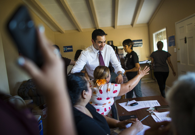 Democratic congressional candidate Ruben Kihuen greets supporters at a home in Las Vegas on Thursday, Aug. 11, 2016. Chase Stevens/Las Vegas Review-Journal Follow @csstevensphoto