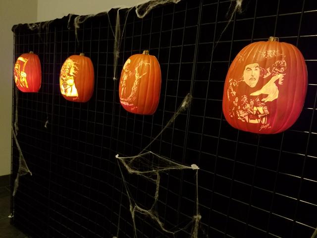 "Foam pumpkin carvings from Bryan Yeager's ""Killerpumpkin.net"" exhibit on display in the gallery at Centennial Hills Library Oct. 8, 2016, in Las Vegas. Lisa Valentine/View"