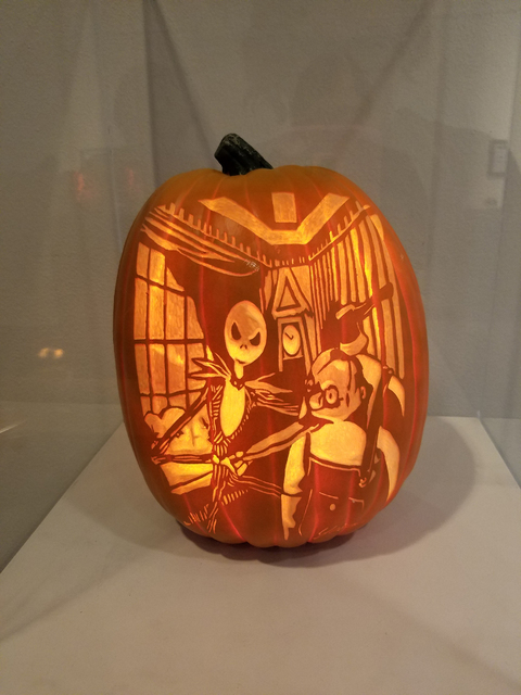 """Jack Skellington from """"The Nightmare Before Christmas"""" on a foam pumpkin carving from Bryan Yeager's """"Killerpumpkin.net"""" exhibit on display in the gallery at Centennial Hills Library Oct. 8, 2016, ..."""
