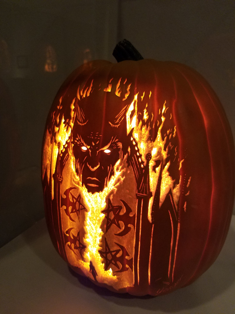 """A devil figure on a foam pumpkin carving from Bryan Yeager's """"KillerPumpkin.Net"""" exhibit on display in the gallery at Centennial Hills Library Oct. 8, 2016, in Las Vegas. Lisa Valentine/View"""