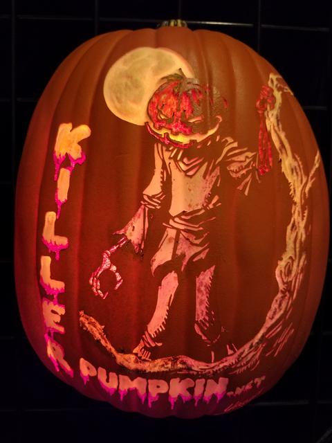 "A Killer Pumpkin design on a foam pumpkin carving from Bryan Yeager's ""Killerpumpkin.net"" exhibit on display in the gallery at Centennial Hills Library Oct. 8, 2016, in Las Vegas. Lisa Valentine/View"