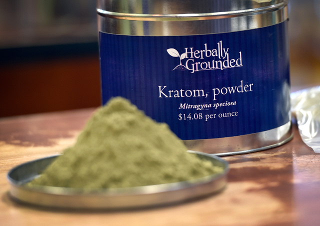 A sample of kratom is displayed at Herbally Grounded on Friday, Sept. 2, 2016, in Las Vegas. The Drug Enforcement Agency is adding the plant to the list of Schedule 1 substances on Sept. 30, (Davi ...