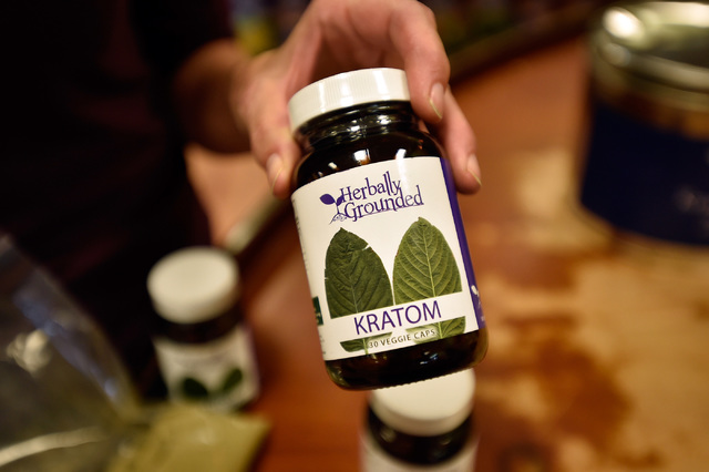 A sample of kratom caplets is displayed at Herbally Grounded on Friday, Sept. 2, 2016, in Las Vegas. The Drug Enforcement Agency is adding the plant to the list of Schedule 1 substances on Sept. 3 ...