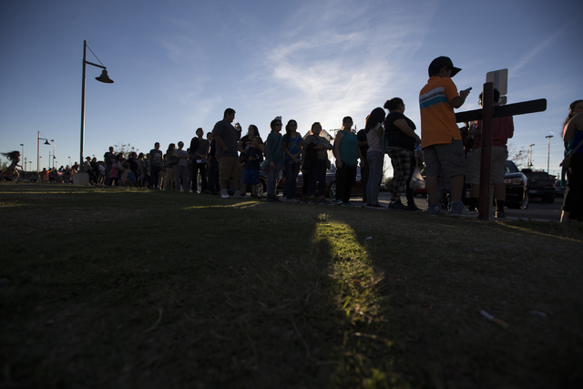 People line up to attend the Hillary for NevadaDebate Watch Party at Craig Ranch Regional Park on Wednesday, Oct. 19, 2016, in North Las Vegas. Erik Verduzco/Las Vegas Review-Journal Follow  ...