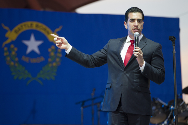 Democratic nominee for the 4th Congressional District Ruben Kihuen speaks during the Hillary for NevadaDebate Watch Party at Craig Ranch Regional Park on Wednesday, Oct. 19, 2016, in North L ...