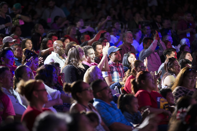 People react to the presidential debate during the Hillary for NevadaDebate Watch Party at Craig Ranch Regional Park on Wednesday, Oct. 19, 2016, in North Las Vegas. Erik Verduzco/Las Vegas  ...