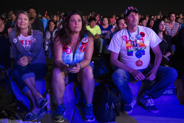 Volunteers from left, Susan Dodds, Denise Araiza and Mark Murphy, attend the Hillary for NevadaDebate Watch Party at Craig Ranch Regional Park on Wednesday, Oct. 19, 2016, in North Las Vegas ...