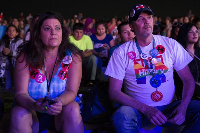 Volunteers Denise Araiza, left, and Mark Murphy attend the Hillary for NevadaDebate Watch Party at Craig Ranch Regional Park on Wednesday, Oct. 19, 2016, in North Las Vegas. Erik Verduzco/La ...