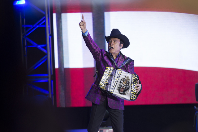 Mexican music group member of Los Tigres del Norte Jorge Hernandez of performs during the Hillary for NevadaDebate Watch Party at Craig Ranch Regional Park on Wednesday, Oct. 19, 2016, in North  ...