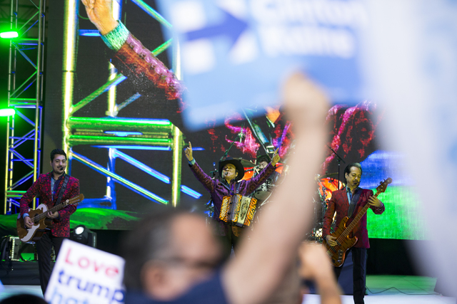 Mexican music group Los Tigres del Norte perform during the Hillary for NevadaDebate Watch Party at Craig Ranch Regional Park on Wednesday, Oct. 19, 2016, in North Las Vegas. Erik Verduzco/Las V ...