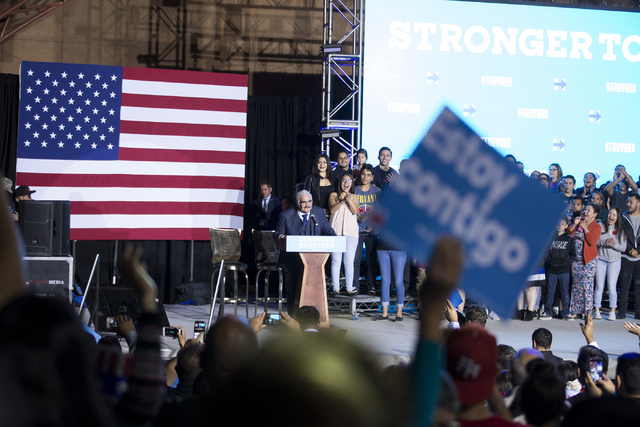Mexican music legend Vicente Fernandez speaks before introducing Democratic presidential nominee Hillary Clinton to the stage during an unscheduled stop to a Hillary for NevadaDebate Watch P ...
