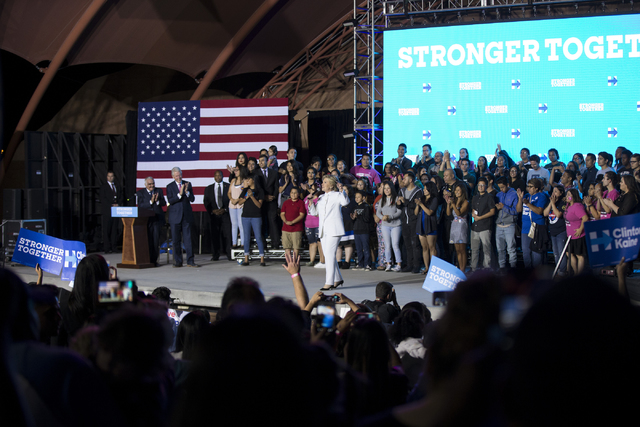 Democratic presidential nominee Hillary Clinton speaks during an unscheduled stop to a Hillary for NevadaDebate Watch Party at Craig Ranch Regional Park on Wednesday, Oct. 19, 2016, in North ...