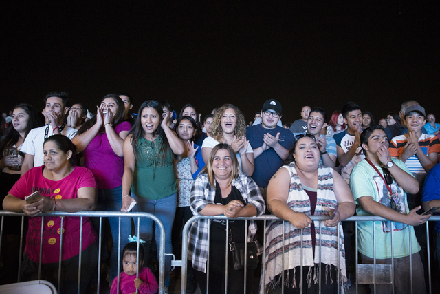 People get ready to listen to live music performances during a Hillary for NevadaDebate Watch Party at Craig Ranch Regional Park on Wednesday, Oct. 19, 2016, in North Las Vegas. Erik Verduzc ...