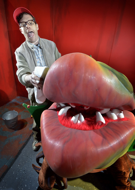 """Seymour, played by Cory Benway, left, talks with Audrey II, played by Cody Angelo, during a rehearsal for """"Little Shop of Horrors"""" in Alios at 1217 S. Main St. in Las Vegas on Monday ..."""