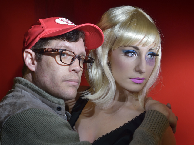 """Cory Benway, as Seymour, left, and Kady Heard, as Audrey, are shown during a rehearsal for """"Little Shop of Horrors"""" in Alios at 1217 S. Main St. in Las Vegas on Monday, Oct. 3, 2016. ..."""