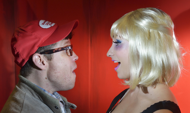 """Cory Benway, as Seymour, left, and Kady Heard, as Audrey, perform during a rehearsal for """"Little Shop of Horrors"""" in Alios at 1217 S. Main St. in Las Vegas on Monday, Oct. 3, 2016. B ..."""