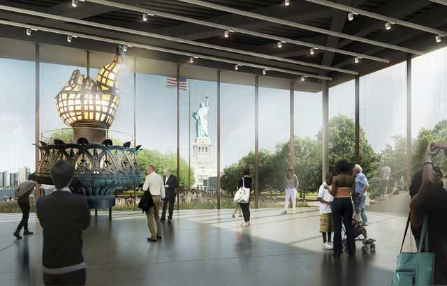 This artist rendering provided by the Statue of Liberty-Ellis Island Foundation shows a design for a new free-standing Statue of Liberty Museum on Liberty Island. The new museum will triple the ex ...