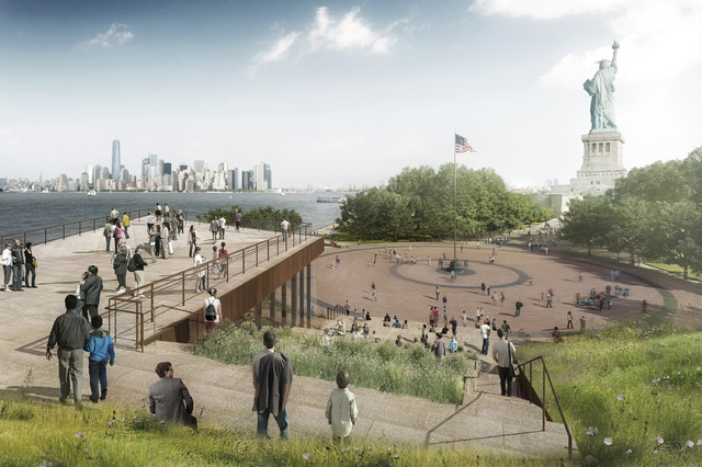 This artist rendering provided by the Statue of Liberty-Ellis Island Foundation shows a design for a new free-standing Statue of Liberty Museum on Liberty Island. The groundbreaking ceremony Thurs ...
