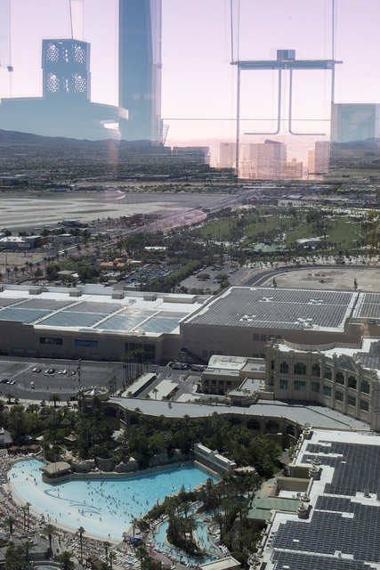 The solar power farm atop the convention center at Mandalay Bay, now ranking as the largest rooftop array in the nation, is pictured in Las Vegas on Friday, June 17, 2016. (Bridget Bennett/Las Veg ...