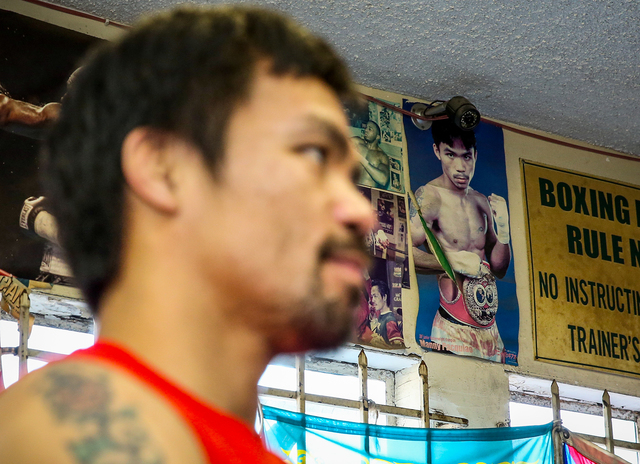 Manny Pacquiao at his Los Angeles media day last week. (Photo by Mikey Williams)