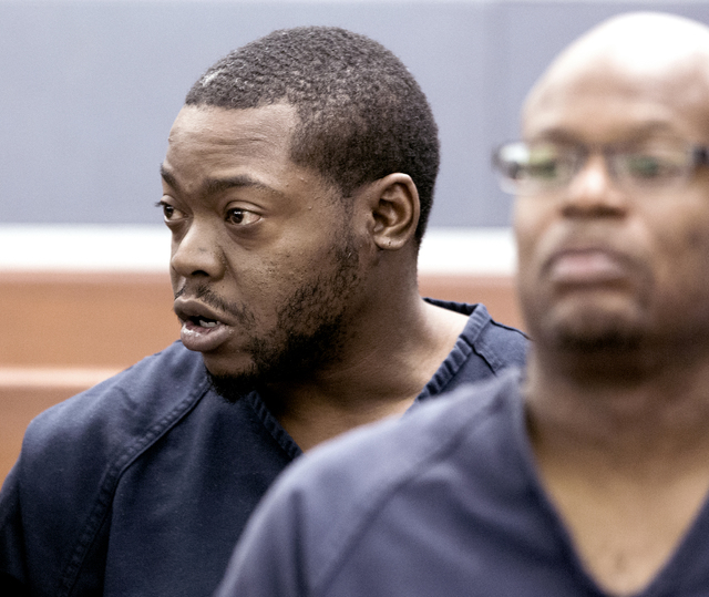 Defendant Kenneth McDonald, who is accused of shooting two people on Interstate 15, killing one, makes his initial court appearance on Wednesday, Oct. 19, 2016. (Jeff Scheid/Las Vegas Review-Journ ...