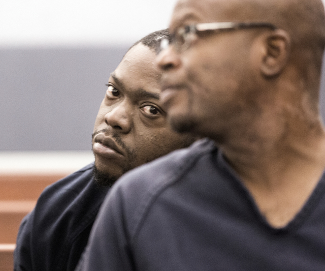 Defendant Kenneth McDonald, left, who is accused of shooting two people on Interstate 15, killing one, makes his initial court appearance on Wednesday, Oct. 19, 2016. (Jeff Scheid/Las Vegas Review ...