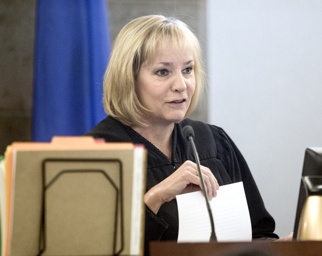 Justice of the Peace Ann Zimmerman speaks during the initial appearance of defendant Kenneth McDonald on Wednesday, Oct. 19, 2016. McDonald is accused of shooting two people on Interstate 15, kill ...