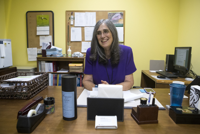 Director of Jay Sexter Library June Simms poses at her desk at Touro University Nevada College of Ostopathic on Wednesday, Sept. 28, 2016, in Henderson. Loren Townsley/Las Vegas Review-Journal Fol ...