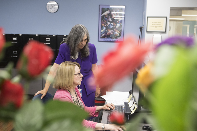 Library assistant Terry Bourcet, front and Director of Jay Sexter Library June Simms work on the computer at Touro University Nevada College of Ostopathic in Henderson on Wednesday, Sept. 28, 2016 ...