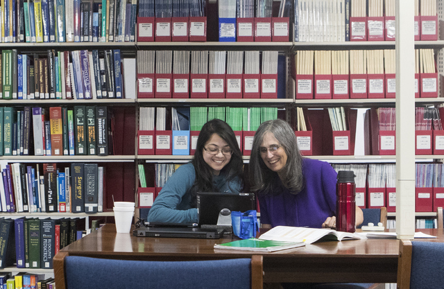 Director of Jay Sexter Library June Simms, right, helps a Arshi Jha at Touro University Nevada College of Ostopathic on Wednesday, Sept. 28, 2016, in Henderson. Loren Townsley/Las Vegas Review-Jou ...