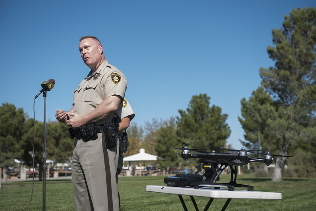 Captain Pete Boffelli talks about the safe operation of unmanned aircraft systems, commonly known as drones, during a news conference at Police Memorial Park in Las Vegas on Tuesday, Oct. 18, 2016 ...