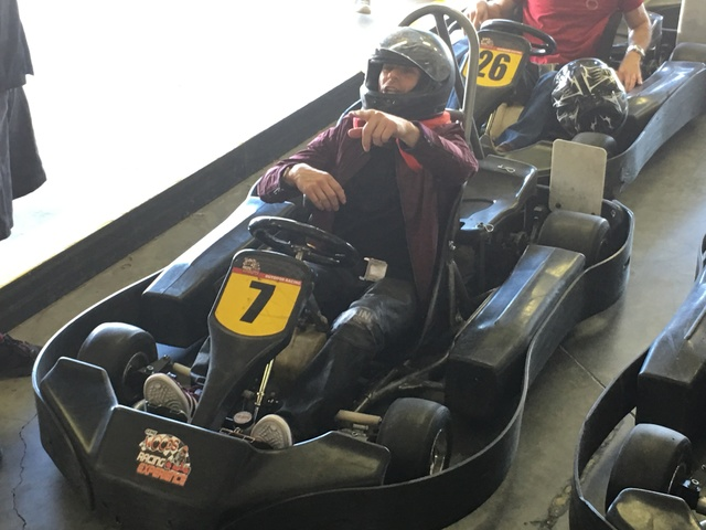 Mike Hammer is shown at Gene Woods Racing Experience during his Celebrity Go-Kart Race to benefit #ServingHopeLV. (John Katsilometes photo.)