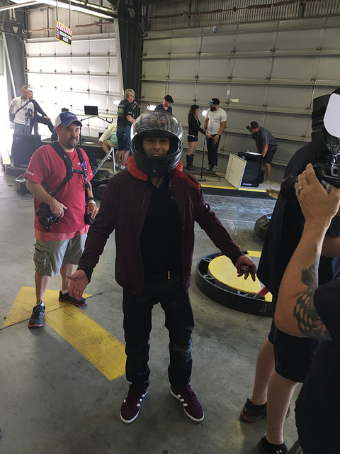 Four Queens headliner Mike Hammer is shown at Gene Woods Racing Experience during the his Celebrity Go-Kart Race to benefit #ServingHopeLV. (John Katsilometes photo.)