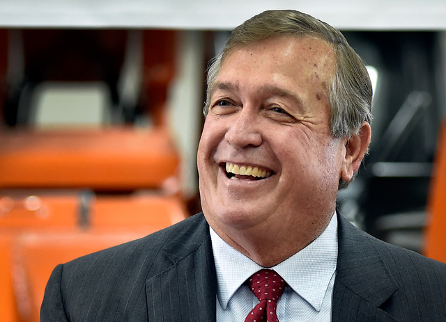 U.S. Rep. Cresent Hardy, R-Nev., smiles during a roundtable event at Xtreme Manufacturing in Las Vegas on Tuesday, Aug. 30, 2016. It was his first appearance after a heart episode sent him to the  ...