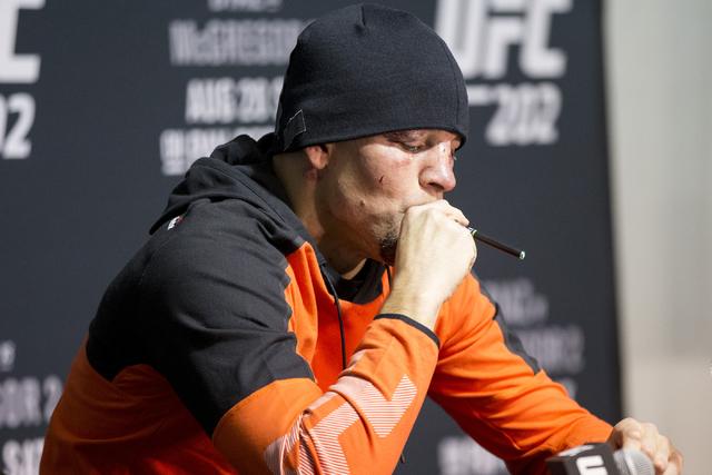 Nate Diaz speaks smokes during the UFC 202 post-fight press conference at T-Mobile Arena on Saturday, Aug. 20, 2016, in Las Vegas. (Erik Verduzco/Las Vegas Review-Journal) Follow @Erik_Verduzco