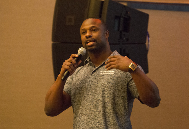 Retired NFL linebacker Bart Scott speaks at the UFC Veteran Athlete Summit in Las Vegas on Oct. 28, 2016. (Heidi Fang/Las Vegas Review-Journal)