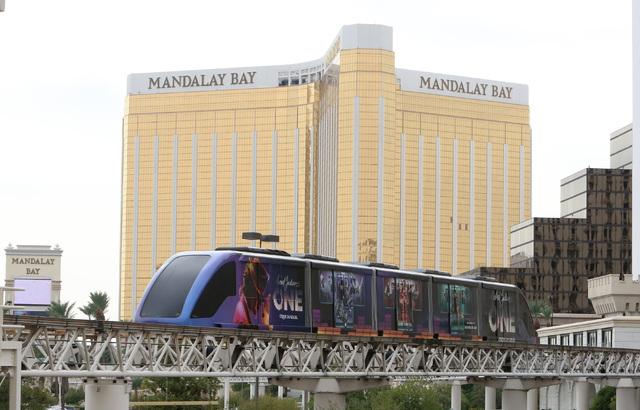 Mandalay Bay hotel-casino is seen as a Tram approaches Luxor Station, Thursday, Oct. 27, 2016. (Bizuayehu Tesfaye/Las Vegas Review-Journal Follow @bizutesfaye)