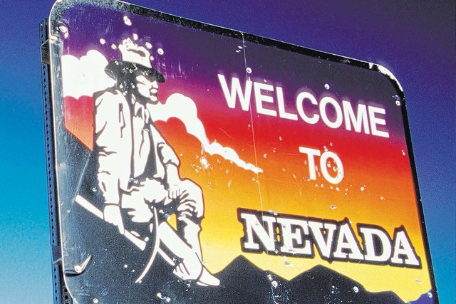 """Welcome to Nevada"" highway sign. (Las Vegas Review-Journal)"
