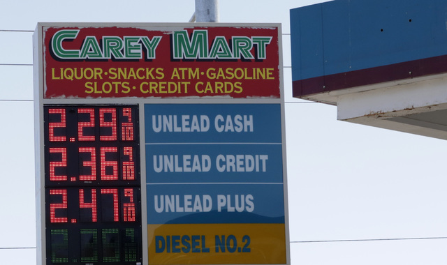 Posted gasoline prices are displayed at Carey Mart on MLK Boulevard on Tuesday, Aug. 9, 2016. Bizuayehu Tesfaye/Las Vegas Review-Journal Follow @bizutesfaye