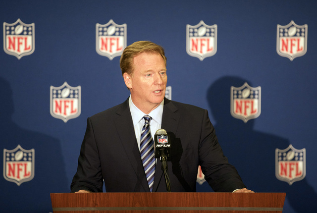 NFL commissioner Roger Goodell speaks at a news conference in Houston during the NFL owners meeting on Oct. 19, 2016. (Heidi Fang/Las Vegas Review-Journal)