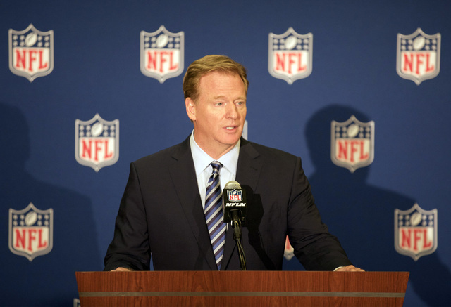 NFL commissioner Roger Goodell speaks about the Raiders potential move to Las Vegas during a news conference in Houston during the NFL owners meeting on Oct. 19, 2016. (Heidi Fang/Las Vegas Review ...